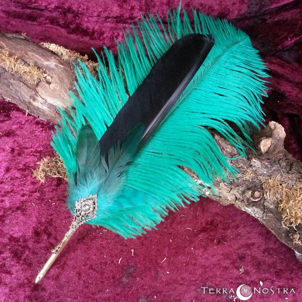 """""""The Green Path"""" feather quill"""